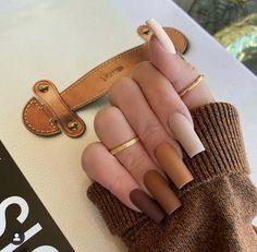 Brown Acrylic Nails, Halloween Acrylic Nails, Brown Nails, Best Acrylic Nails, Acrylic Nail Designs, Brown Nail Designs, Brown Nail Art, Acrylic Nails Autumn, Dope Nail Designs