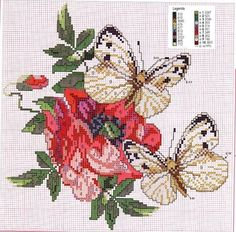 beautiful butterflies and flowers Cross Stitch Pattern free