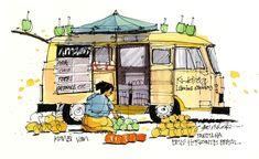 kombi-van-Brazil James Richards. Superb sketch of a van and vendor in Brazil.