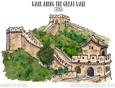 Walk Along the Great Wall, China - Illustrated Travel Bucket List by Wanderlust Designer