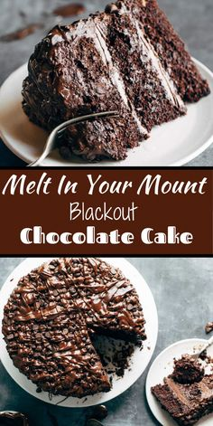 Blackout Chocolate Cake This is the cake for chocolate lovers! Ultramoist chocolate cake, layers of cream Hershey Chocolate Cakes, Chocolate Desserts, Chocolate Drizzle, Chocolate Frosting, Chocolate Lovers, Simple Chocolate Cake, Chocolate Cream Cheese Cake, Chocolate Christmas Cake, Chocolate Chip Cake