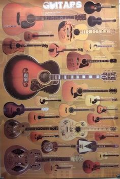 28 Models Music Instruments Folk Acoustic Guitars Now Paper Poster Guitar Display Wall, Guitar Collection, Vintage Guitars, Vintage Posters, Office Decor, Acoustic Guitars, Folk, Wall Art, Classic