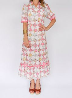 Sixties vintage floral dress @ www.secondhandnew.nl