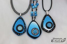 https://flic.kr/p/FyrdZd | Polymer clay necklaces, blue and black | www.facebook.com/mountain.pearls