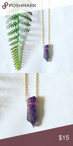 Amethyst Necklace Just over 1 inch of genuine amethyst sits on a 14k gold plated 18in chain.   All Pineapple.PalmBeach jewelry and hair pins come packaged on crisp white packaging and tucked carefully into white chiffon pouches ready for you or a friend to enjoy!   Don't forget to shop my closet for a bundle discount! Pineapple.PalmBeach Jewelry Necklaces