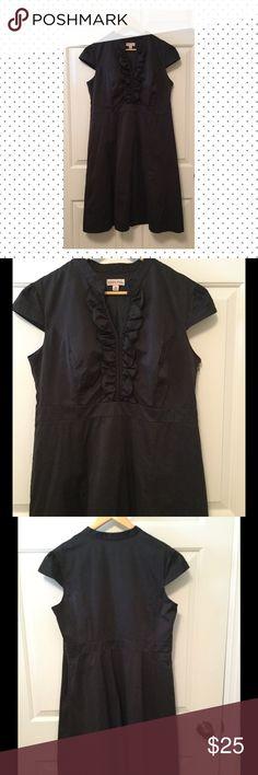 "FIT & FLARE LBD A- line, side zip, ruffle placket, cap sleeves. Great little black dress. EUC. Armpit to armpit approx 20"", nape to hem is 41"". Merona Dresses"