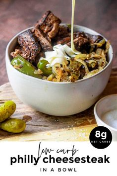 Philly Cheesesteak in a Bowl (Low Carb Keto!) - Low Carb Keto - Ideas of Low Carb Keto - NEW This philly cheesesteak in a bowl recipe is GOLD! Because its quick and easy low carb and its steak covered in a creamy and delectable CHEESE SAUCE! Low Carb Dinner Recipes, Keto Dinner, Breakfast Recipes, Beef Recipes, Cooking Recipes, Healthy Recipes, Flour Recipes, Protein Recipes, Recipies