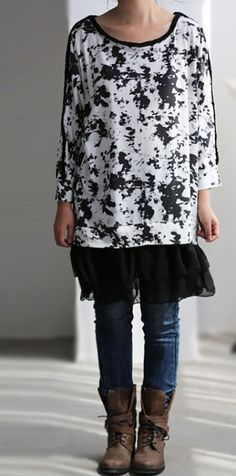Leisure Cotton chiffon splicing bat T shirt by MaLieb on Etsy, $68.00