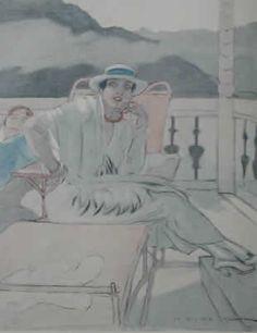 1913 lei seduta su terrazzo con  sfondo lago