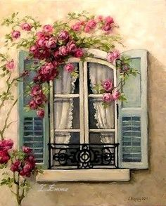Chateau De Fleurs: My Love of French Windows Inspired a New Romantic Rose Painting! So gorgeous! Romantic Roses, Beautiful Roses, Decoupage Paper, Beautiful Paintings, Painting Inspiration, Painting & Drawing, Watercolor Paintings, Art Projects, Illustration Art
