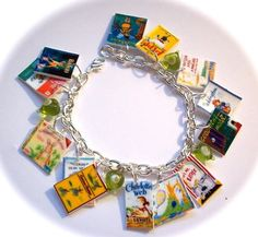 Shrinky dink book cover bracelet? Yes please! No tutorial with this one, but you should be able to run shrinky dink paper through the printer, cut, punch holes, bake and attach to a bracelet!
