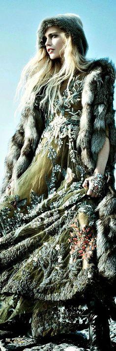Faux Fur Call Of The Wild: Sasha Pivovarova For Vogue September 2014