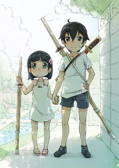 Young Suguha & Kazuto | Sword Art Online  oh meh aids.....its adorable