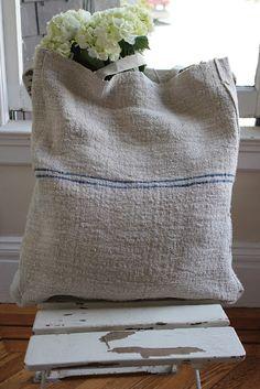 grain sack tote bag Striped Furniture, Farmhouse Fabric, Ticking Fabric, Sack Bag, Grain Sack, Linen Bag, Simple Gifts, Handmade Bags, Purses And Bags