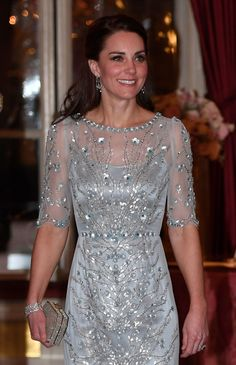 Catherine, Duchess of Cambridge arrives for a dinner hosted by Her Majesty's Ambassador to France, Edward Llewellyn, at the British Embassy in Paris, as part of their official visit to the French capital on March 17, 2017.