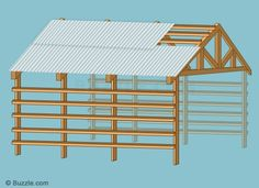 Secure roofing material to the purlins.