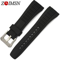 26mm Men Women Watch Watchbands Black Diving Silicone Rubber Watch BAND Strap With Pin Buckle Relojes Hombre 2017 SEI222