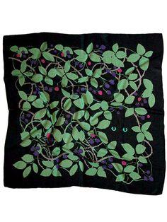Cat in Brambles Jet Black Wool Scarf | Karen Mabon