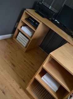 how to build corner desk with storage. This website has TONS of different projects to build, with a shopping list and directions of how to make it!