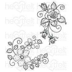 Blushing Rose Swirls Cling Stamp Set