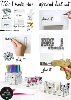 DIY: mirrored desk set