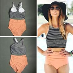 Striped High Waisted Swimsuit - BoardwalkBuy - 1 Source by bikini high waist Plus Size Bikini Bottoms, Women's Plus Size Swimwear, Summer Bathing Suits, Cute Bathing Suits, Vintage Bathing Suits, Vintage Swimsuits, Bikini Sets, Summer Outfits, Cute Outfits