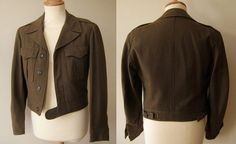 Eisenhower jacket is a bloused jacket with belt, WWII inspired.