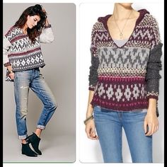 Loose knit Awesome free people fair isle knit hoodie with side slits and high low effect * great look with denim * layered over a tank or tee* NWT price reduced for closet clear out ‼️ Free People Sweaters