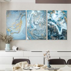 Marble Texture Painting Print Framed Wall Art Set Of 3 Prints Etsy Framed Canvas Prints Framed Wall Art Sets Frames On Wall