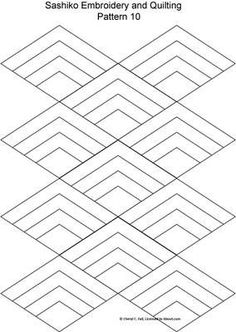 Paper Embroidery Patterns Sashiko Pattern 12 - This form of embroidery uses straight or curved geometric designs stitched in a repeating pattern. Find free patterns here. Paper Embroidery, Japanese Embroidery, Hand Embroidery Patterns, Cross Stitch Embroidery, Quilt Patterns, Machine Embroidery, Embroidery Books, Embroidery Scissors, Simple Embroidery