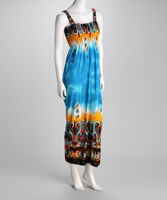 Take a look at this Turquoise Abstract Maxi Dress by Ivy Wear on #zulily today!