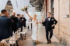 Jenn & Mitch get hitched at Artscape Wychwood Barns Sleek Wedding Dress, Crepe Wedding Dress, Minimalist Wedding Dresses, Theia Bridal, Bustle, Barns, Sash, Bride, Beautiful