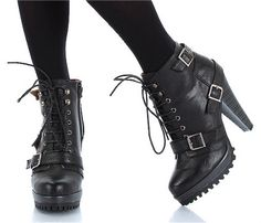 high heeled combat boots | Black high heel hiking combat army mid calf boots, womens boots ...