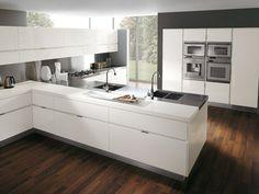 White Lacquer cabints darker wood floor