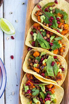 black eyed pea sweet potato tacos with pomegranate seeds black eyed ...