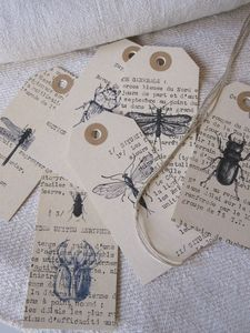 Look out my stamp box! Insectes chez Antique Home Book Crafts, Paper Crafts, Handmade Tags, Paper Tags, Artist Trading Cards, Card Tags, Altered Books, Tag Art, Junk Journal