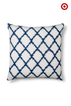 It's a softer, gentler geometric: the Threshold navy ikat throw pillow. Add it to a mix of solid and textured pillows for super-cool sofa style.
