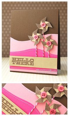 handmade card ... clean design ... luv this color combo: chocolate, cream and pinks ...