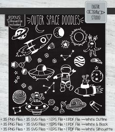 Space Drawings, Outline Drawings, Plant Illustration, Graphic Illustration, Space Doodles, Illustrator Cs5, Cute Cottage, Outer Space, Doodle Art
