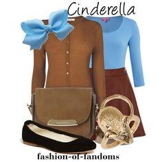 Cinderella. Disney. Blue long sleeve. Brown sweater cardigan. Fitting. Brown skirt. Black flats.