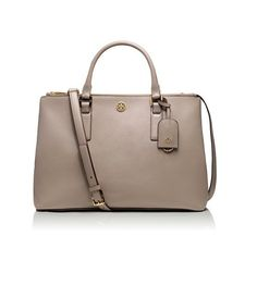 b1eb536c81b8 top handle bags  Tory Burch Robinson Double-Zip Leather Tote in Dust Storm