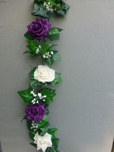 Garland with artificial ivory & cadbury purple roses Artificial Flower Arrangements, Artificial Silk Flowers, Wedding Flower Arrangements, Garland Wedding, Wedding Decorations, Wedding Ideas, Cadbury Purple Wedding, Flower Studio, Wedding