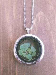 Floating Locket with Green Lake Superior Sea by WildBlueCreations