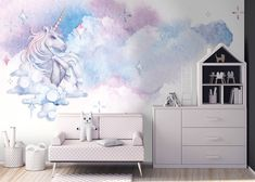 clouds watercolor unicorn children nursery stars serter ml