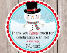Snowman Birthday Party Favor Tags or Stickers / Winter ONEderland Party / Red and Teal / Set of 12 - 004
