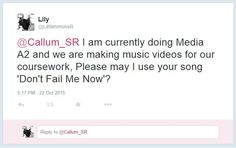 DEVELOPMENT/ PRE PRODUCTION: Twitter - I used twitter to tweet the artist asking his permission to use his song. I also used Twitter to look at his page and the type of things he tweets and look into the type of events/shows he performs at.