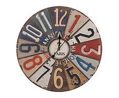 Horloge murale bois et papier, multicolore - Ø58