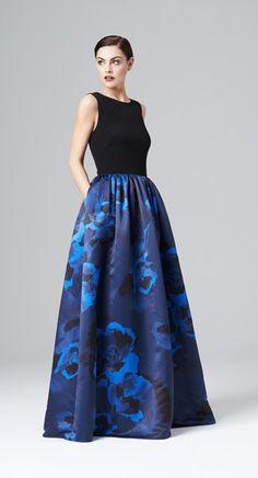 """<div class=""""ip-description""""><br/>            Style#: 459180<br/>            Colors: Black/Cobalt,Black/Ruby<br/>            Description: Jersey bodice w/ printed satin ballgown<br/>          </div>"""