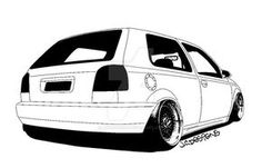 this is a mk3 golf that i have applied the cartoon outline effect on and applied black to make certain areas stand out Base Image: