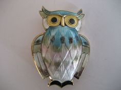 David Andersen Norway Sterling Multi Color Enamel Owl Pin